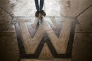 W on ground under Waldo Library