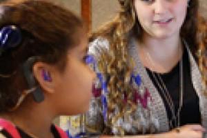 Little girl hearing test