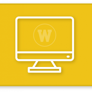 Yellow button with desktop computer icon with WMU W on screen