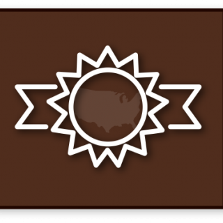 Brown button with ribbon icon with U.S. in middle