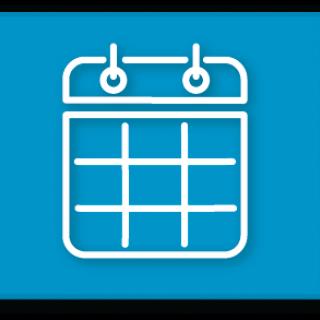 Blue button with calendar icon