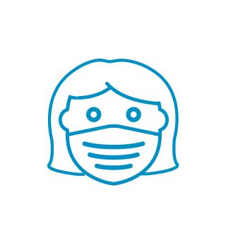 A cartoon of a girl wearing a mask.
