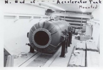 North end of mounted accelerator tank.