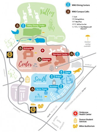 locations map dining services western michigan university