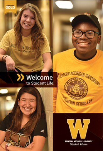 Student Life brochure showing three diverse WMU students