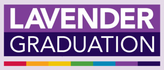 Lavender Graduation logo with rainbow