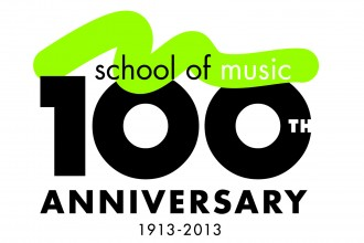 Photo of School of Music 100th anniversary logo.