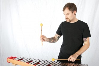 Photo of percussionist Trevor Saint.