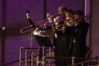 Photo of trombonists.
