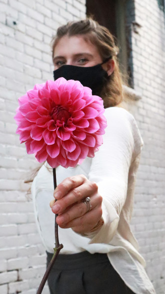 photo of Anezka wearing a face mask, holding large pink flower