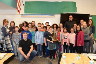 "WMU professors pose with the winning fifth grade class, the principal, and ""math"" parents at Moorsbridge Elementary"