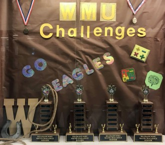 WMU Challenges display of trophies in a display case