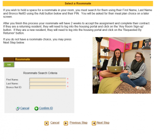 Screenshot of screen used to select roommate online