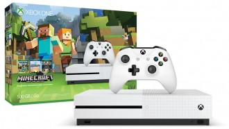 White Xbox One game console with Minecraft themed box.