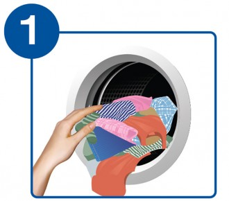 A picture of someone loading laundry into a machine.