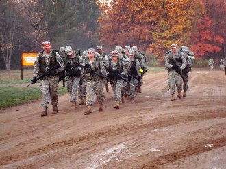 Cadets conducting a ruck march.