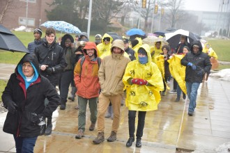 Diversity march on a rainy day