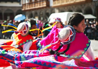 Colorful, traditional dancers