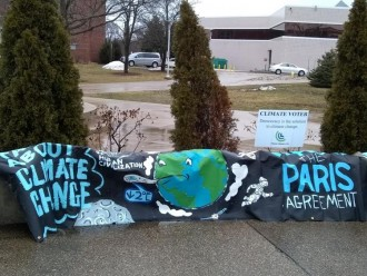 A climate change support flyer on WMU campus.