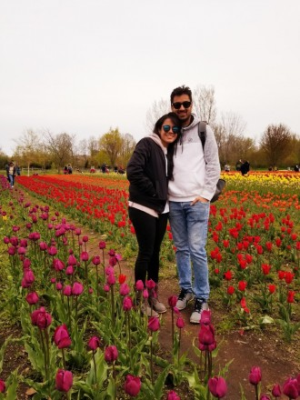 a male and a female student standing in a tulip garden.