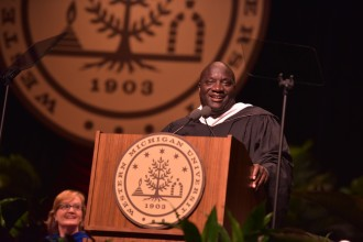 Mayor Bobby Hopewell stands at the podium, speaking during the fall matriculation ceremony.