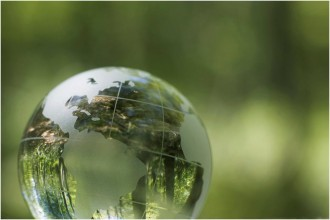 Earth globe on green background