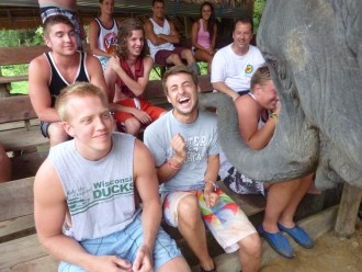 Students interact with elephant on study abroad adventure!