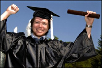 Photo of happy college graduate.