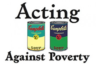 Logo for theatre department food drive.