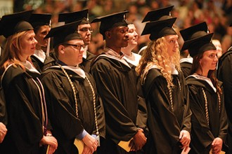 Photo of graduates at WMU commencement.
