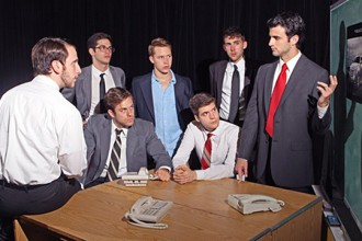 Photo of student actors in Glengarry Glen Ross.