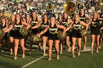 Photo of WMU Dance Team performing at Waldo Stadium.