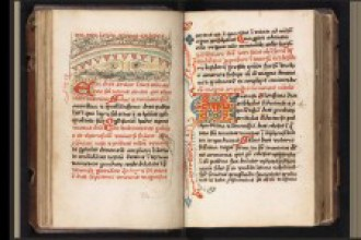 Photo of a two-page spread of the manuscript.