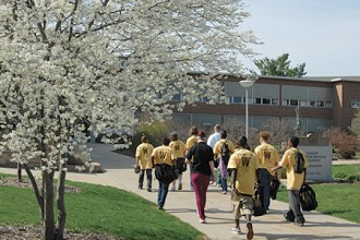 Photo of middle school students on campus.
