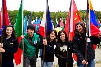 Photo of students with flags.