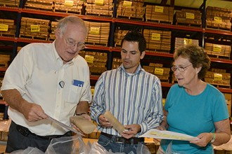 Photo of researchers in WMU's Geological Repository for Research and Education.