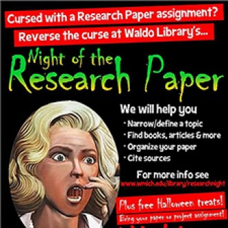 Photo of flier for Night of the Research Paper.
