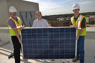 Photo of solar panels being installed at WMU.