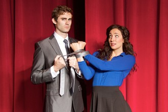 Photo of cast members in the show Spank! The Fifty Shades Parody.