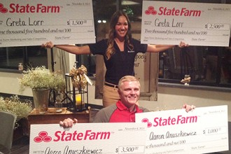 Photo of Greta Lorr and Aaron Anuszkiewicz with their scholarship checks.