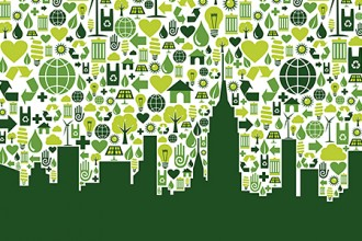 Graphic of green city skyline.