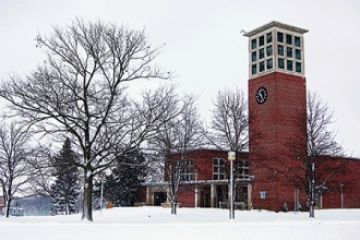 Photo of WMU's Kanley Chapel in winter.