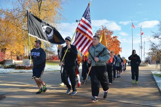 Photo of runners in WMU's Veterans Day 5k race.