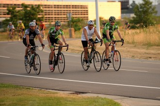 Photo of bicyclists during a race.