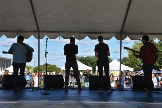 Photo of a band performing at the 2013 Bronco Bash.