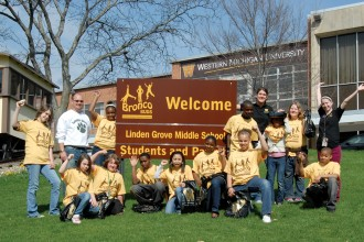 Photo of participants in the Bronco Buds program in front of the Bernhard Center.