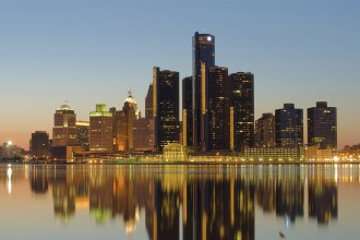 Photo of Detroit skyline.