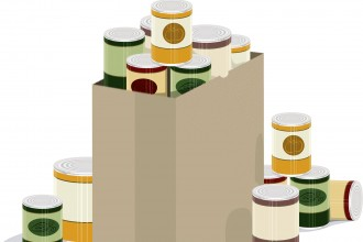 Graphic depicting canned food in a paper bag.