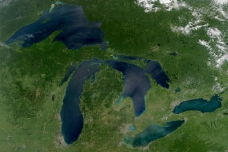 Photo of aerial view of the Great Lakes.