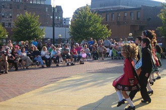 Photo of Irish dancers at a festival.